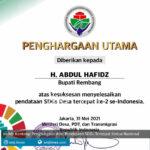 hafidz kantongi penghargaan atas pendataan sdgs tercepat kedua nasional